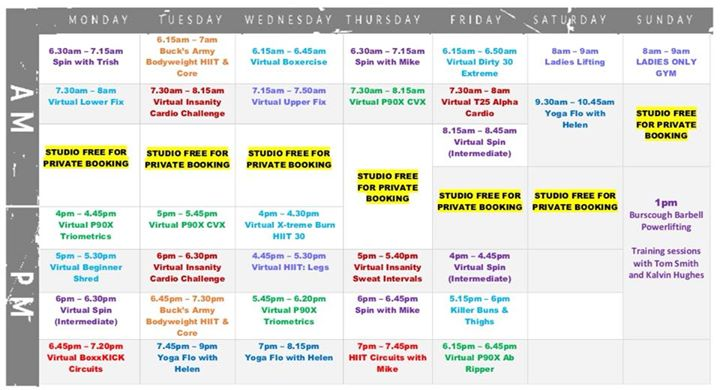 Amazing new timetable @Volt GymThe new Volt Gym timetable